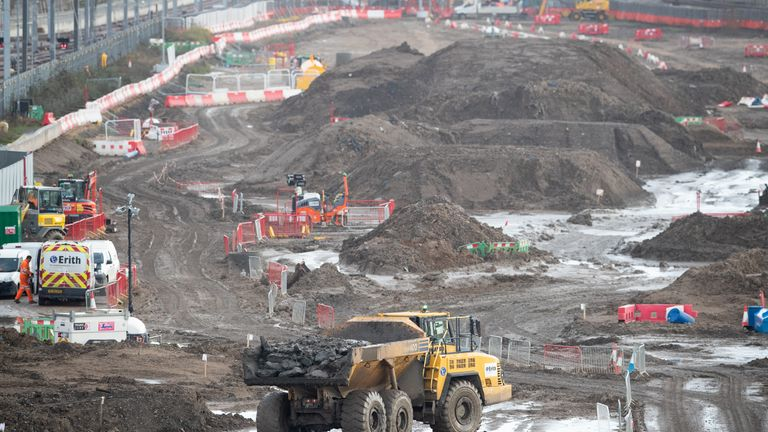 Photo from Sky News showing HS2 construction site